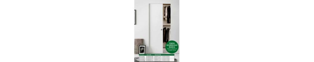Porte da interni in laminatino bianche scorrevoli entro muro